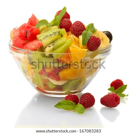 fresh fruits salad in bowl  and berries, isolated on white - stock photo