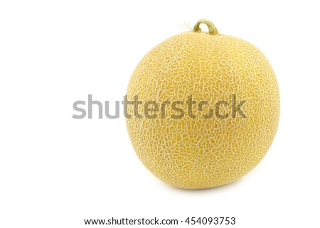 fresh galia melon on a white background - stock photo