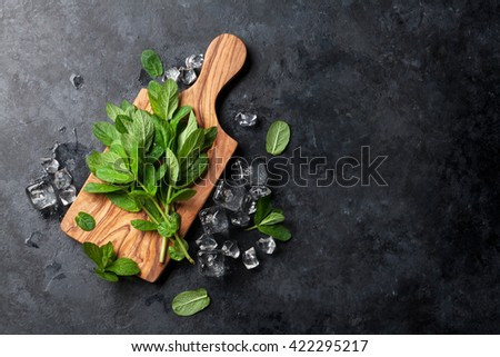Fresh garden mint and ice on stone table. Top view with copy space - stock photo