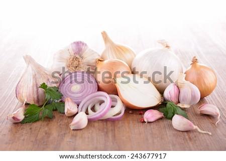 fresh garlic and onion - stock photo