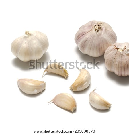 fresh garlic isolated on a white background - stock photo