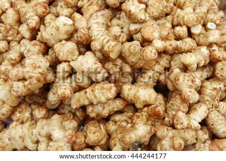 Fresh ginger background.  - stock photo