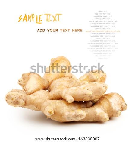 fresh ginger on a white background  - stock photo