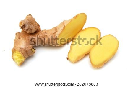 fresh ginger on white background - stock photo