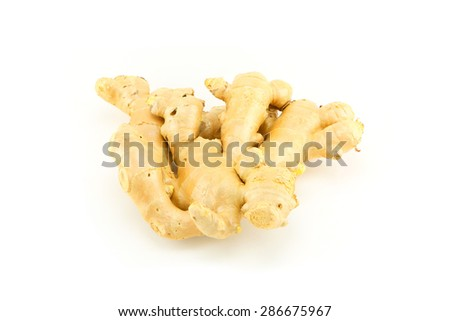 fresh ginger on white background  - stock photo