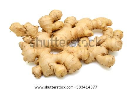 fresh ginger roots isolated on white background - stock photo