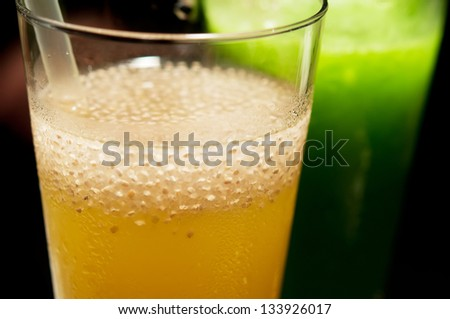 Fresh glass of healthy juice, Ice Chia seeds and Litchi vineger. - stock photo