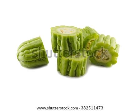 Fresh gourd vegetable slice on white background - stock photo
