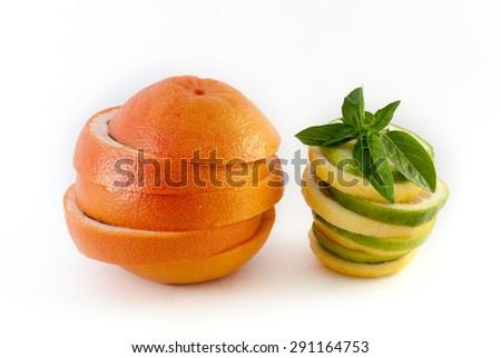 fresh grapefruit and lemon sliced isolated on white background   - stock photo