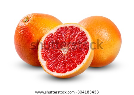 Fresh Grapefruit with juicy slice. Rich with vitamin C isolated on white background - stock photo