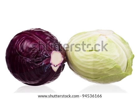 Fresh green and red cabbage vegetable on white background - stock photo
