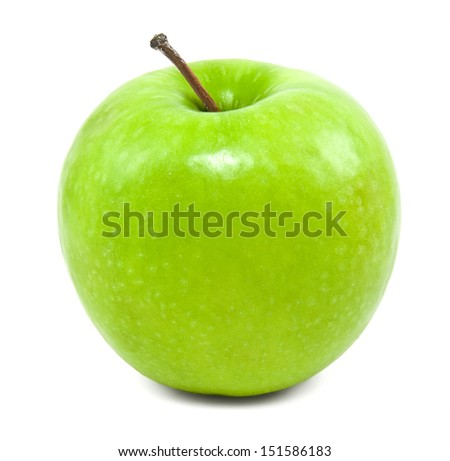 Fresh green apple on a white background - stock photo