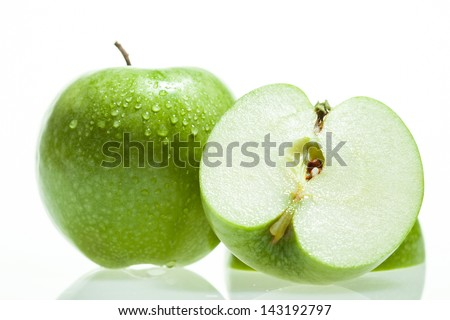 Fresh green apple on white background - stock photo