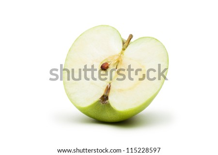 fresh green apple slice isolated on white background - stock photo