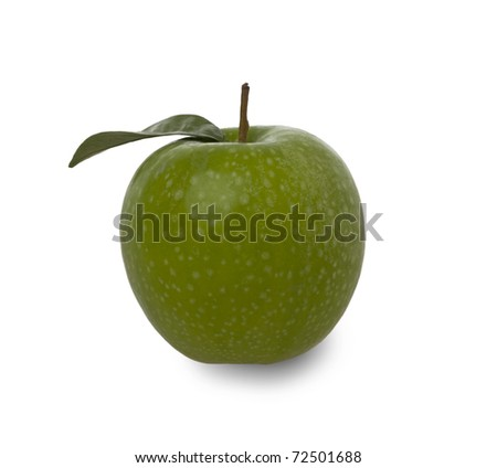 fresh green apple with leaf isolated against a white background - stock photo