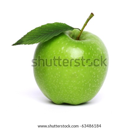 fresh green apple with leaf isolated on white - stock photo