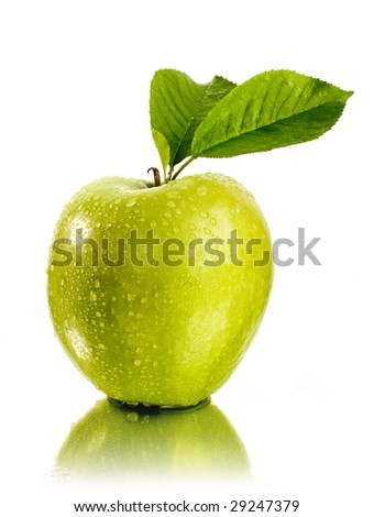fresh green apple with water drops - stock photo