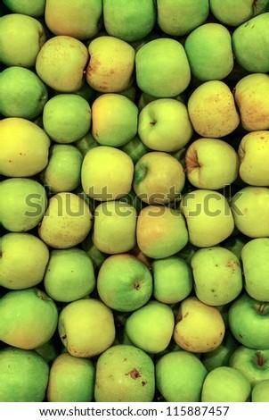 Fresh green apples background - stock photo