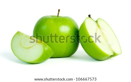Fresh green apples isolated on white background - stock photo