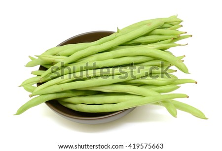 fresh green beans isolated on white background - stock photo