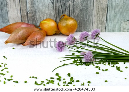 Fresh green blooming chives, shallots and yellow onion on white and wooden background - stock photo
