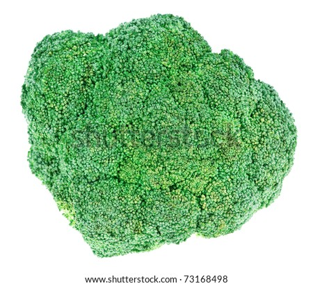 Fresh green broccoli cabbage head isolated on white - stock photo