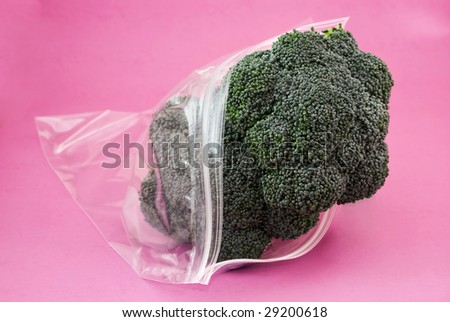 Fresh green Broccoli, in a plastic bag isolated on pink - stock photo
