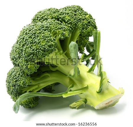 Fresh green Broccoli, isolated on white, close up - stock photo