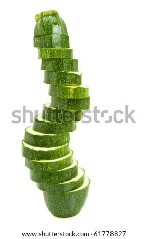 fresh green courgette on white background - stock photo