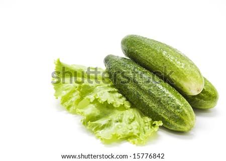 Fresh green cucumbers on lettuce - stock photo