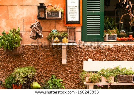 fresh green different herbs and flowers on window outdoor in summer - stock photo