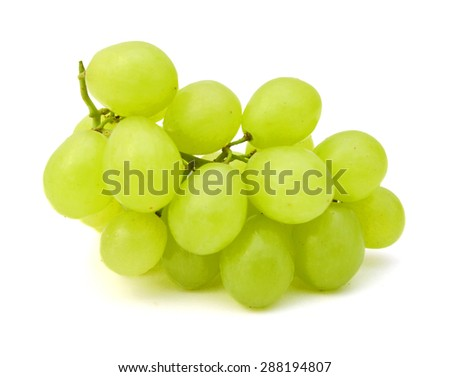 Fresh green grapes. Isolated on white - stock photo