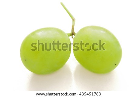 Fresh green grapes macro. Isolated on white - stock photo