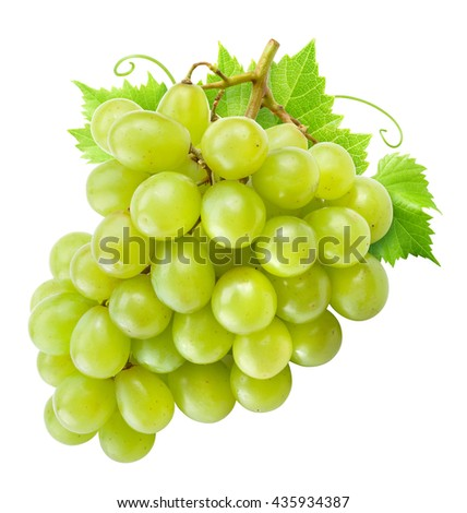 Fresh green grapes with leaves. Isolated on white. Clipping path. - stock photo