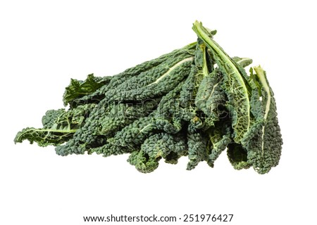 Fresh green kale leaves isolated on white - stock photo