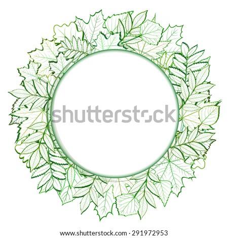 Fresh green leaves round border.  - stock photo