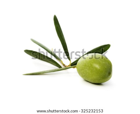 Fresh green olive isolated over white background - stock photo