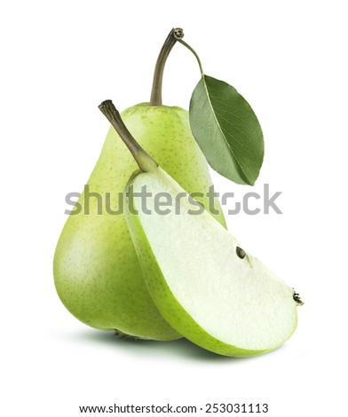 Fresh green pear whole and quarter isolated on white background as package design element - stock photo