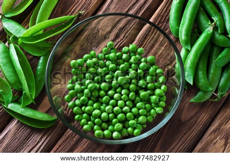 fresh green peas peeled in a glass bowl close-up on wooden background. View from above. Copy space. Free space for text. Rustic or country style
