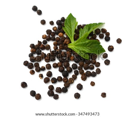 Fresh green peper on heap of Black Pepper,Thai Indian Spice - stock photo