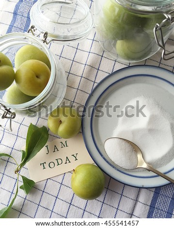 Fresh green plums in glass jars, a dish of sugar with a spoon and the words jam today - stock photo