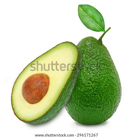 Fresh green ripe avocado whith leaf and slice of avocado with core isolated on white background. Design element for product label, catalog print, web use. - stock photo