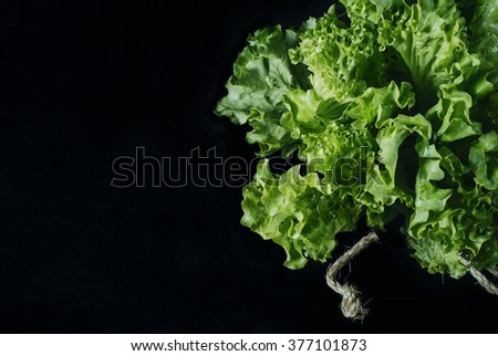 Fresh green salad lettuce leaves isolated on a dark background of the aged wooden boards vintage horizontal top view - stock photo