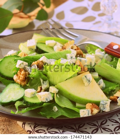 fresh green salad with apples, walnuts and blue cheese (toned in retro style) - stock photo