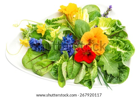 Fresh green salad with edible garden flowers. Healthy food background - stock photo