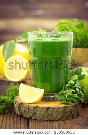 Fresh green smoothie  - stock photo