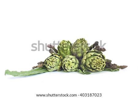 Fresh green spring vegetables  Asparagus and artichoke - stock photo