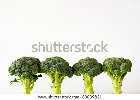 fresh green sprouting broccoli on the white background - stock photo