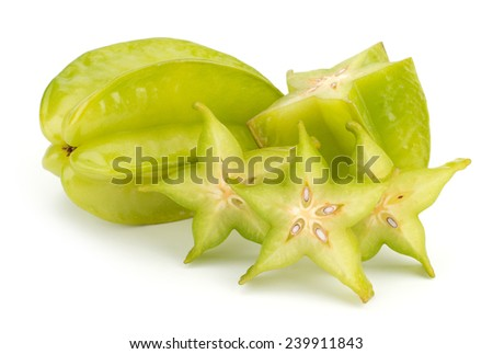 Fresh green Star fruit - Carambola, sliced, isolated on white background cutout - stock photo