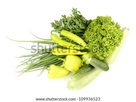 fresh green vegetables isolated on white - stock photo